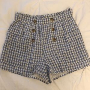 Top shop high waisted shorts. Blue white checkered